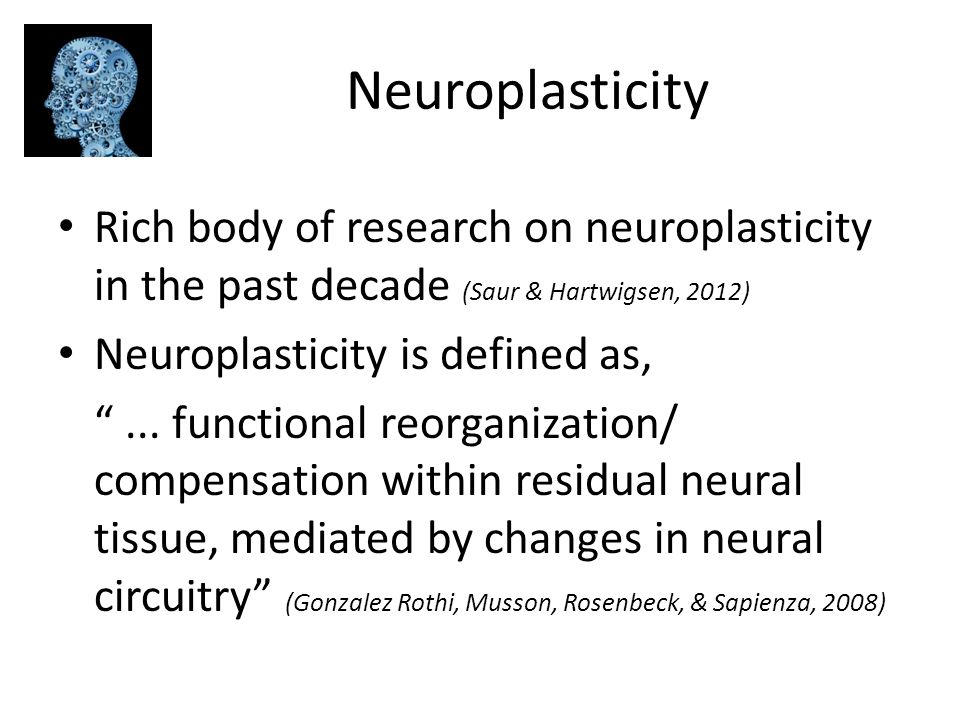 Neuroplasticity Rich body of research on neuroplasticity in the past decade (Saur & Hartwigsen, 2012)