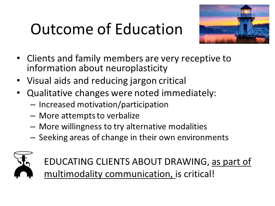 Outcome of Education Clients and family members are very receptive to information about neuroplasticity.