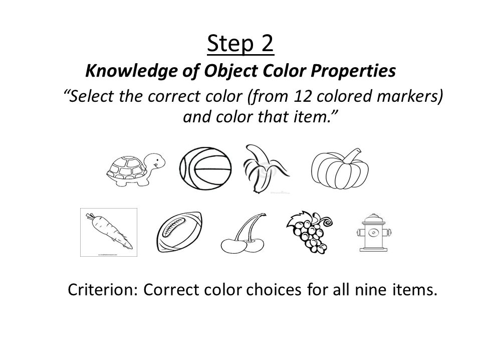 Step 2 Knowledge of Object Color Properties