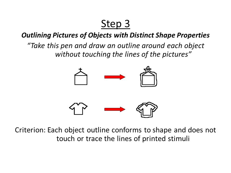Step 3 Outlining Pictures of Objects with Distinct Shape Properties