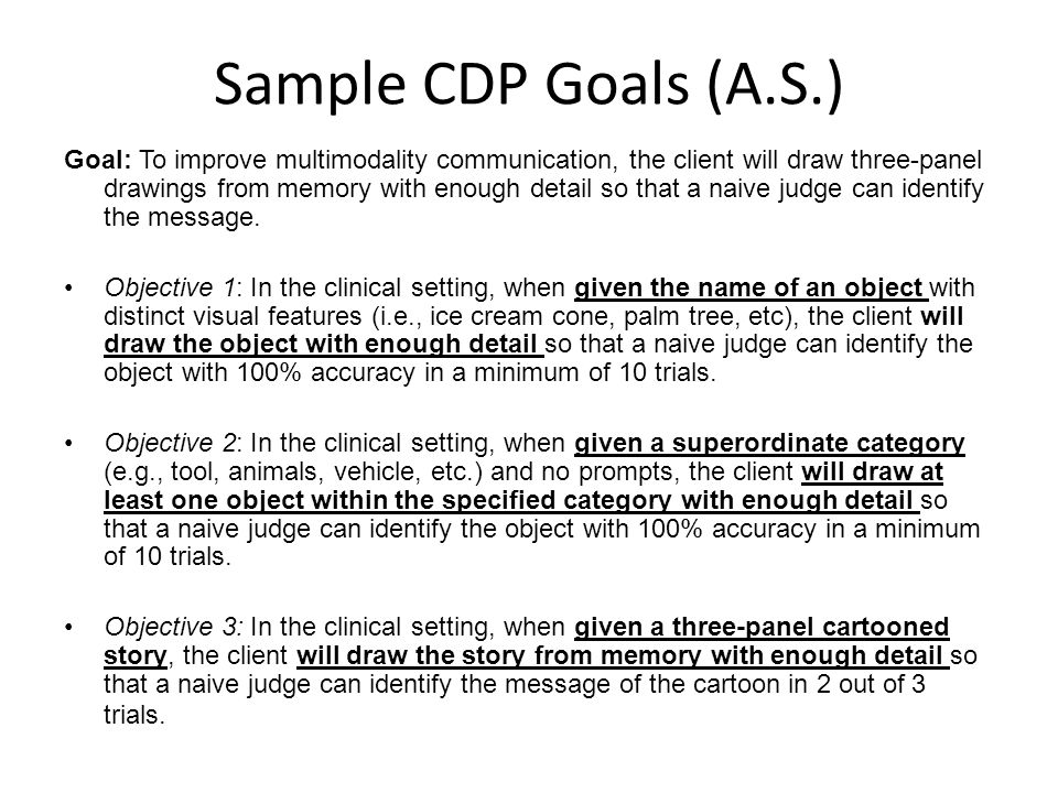 Sample CDP Goals (A.S.)