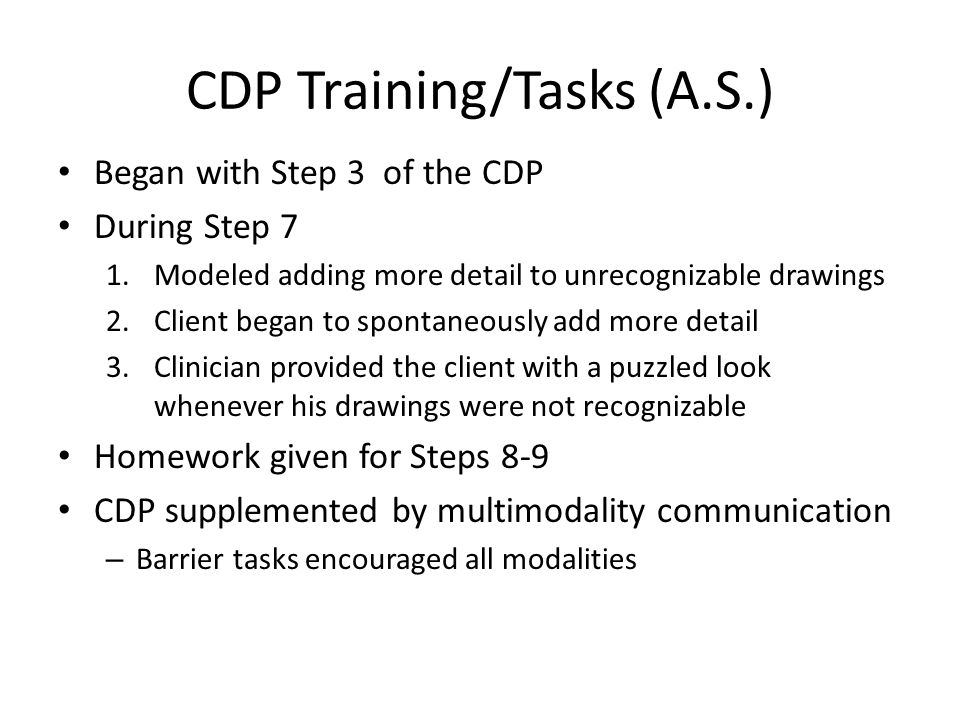 CDP Training/Tasks (A.S.)