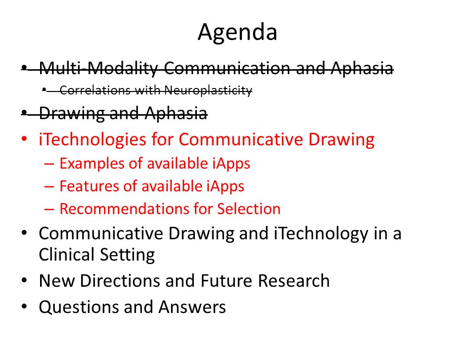 Agenda Multi-Modality Communication and Aphasia Drawing and Aphasia