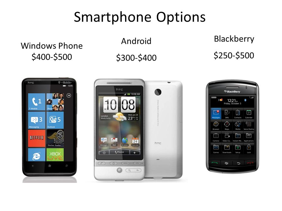 Smartphone Options Blackberry Android $250-$500 Windows Phone