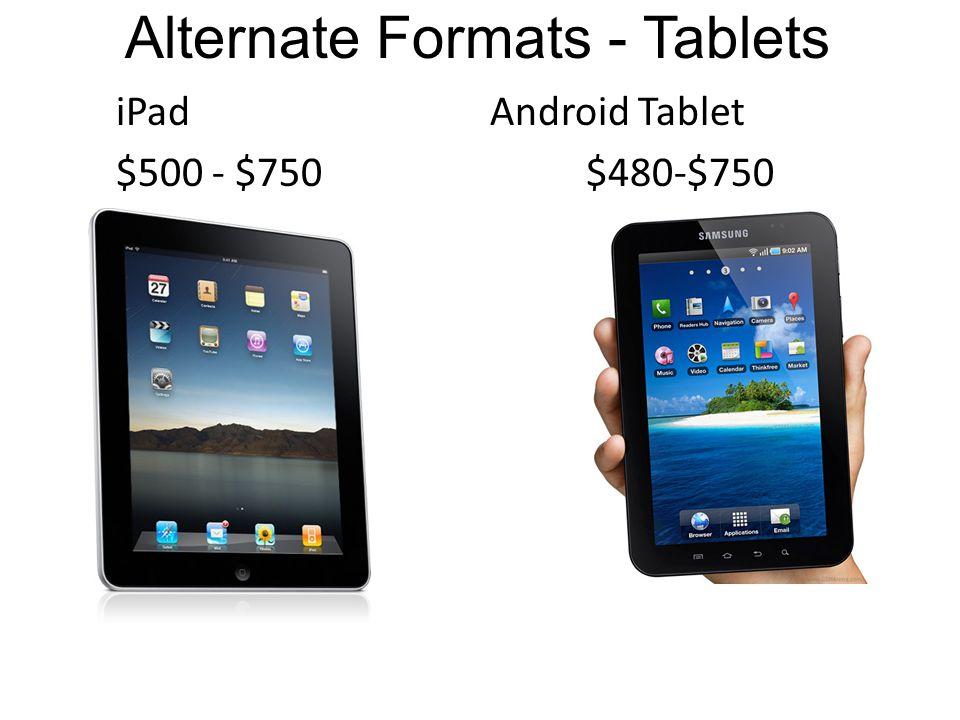 Alternate Formats - Tablets