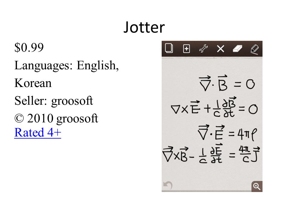 Jotter $0.99 Languages: English, Korean Seller: groosoft