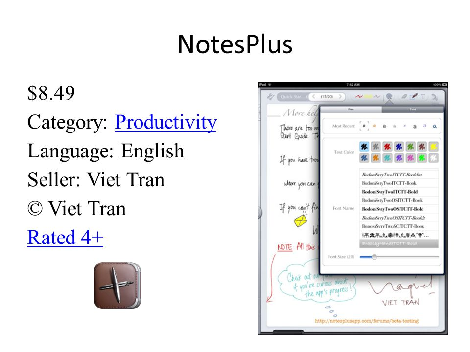 NotesPlus $8.49 Category: Productivity Language: English