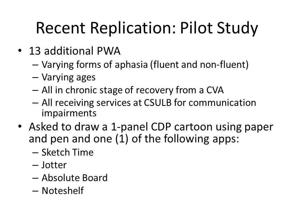 Recent Replication: Pilot Study