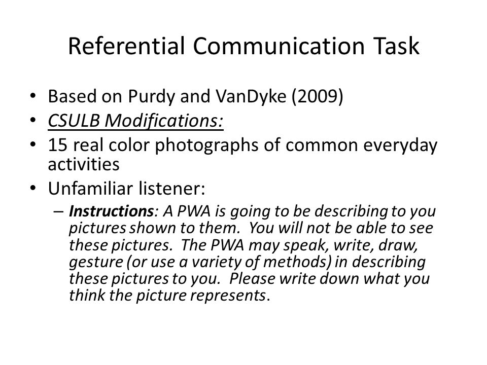 Referential Communication Task