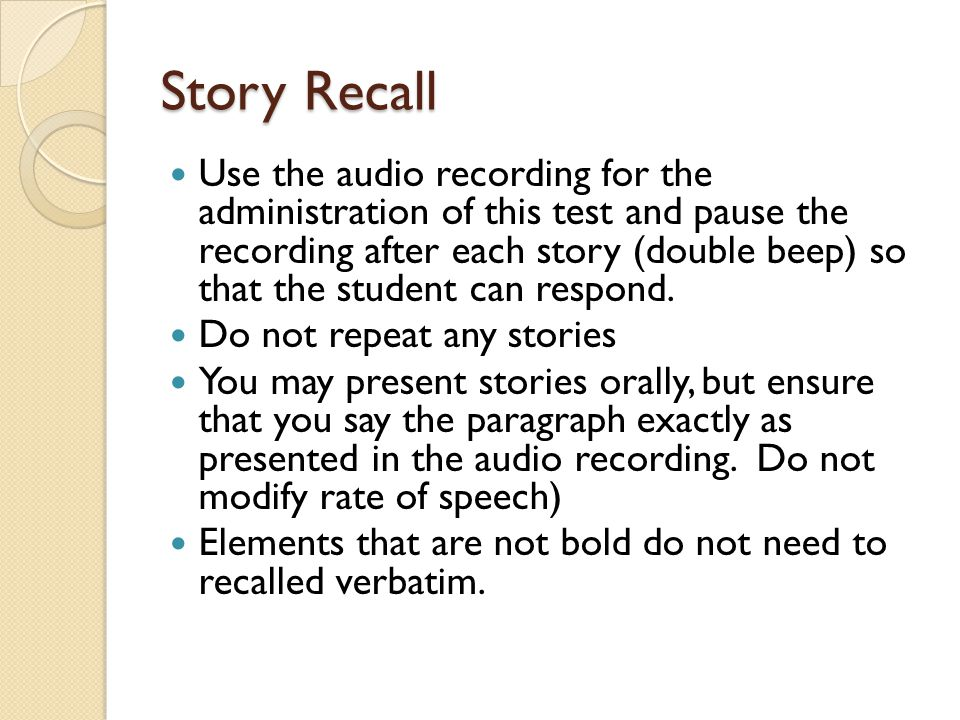 Story Recall
