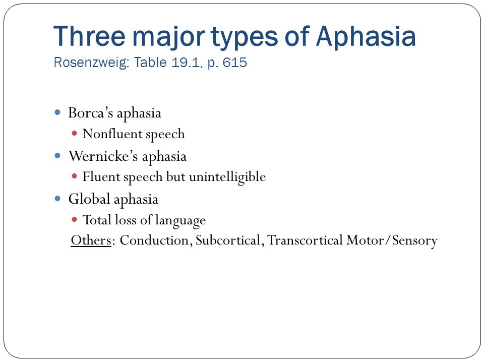 Three major types of Aphasia Rosenzweig: Table 19.1, p. 615