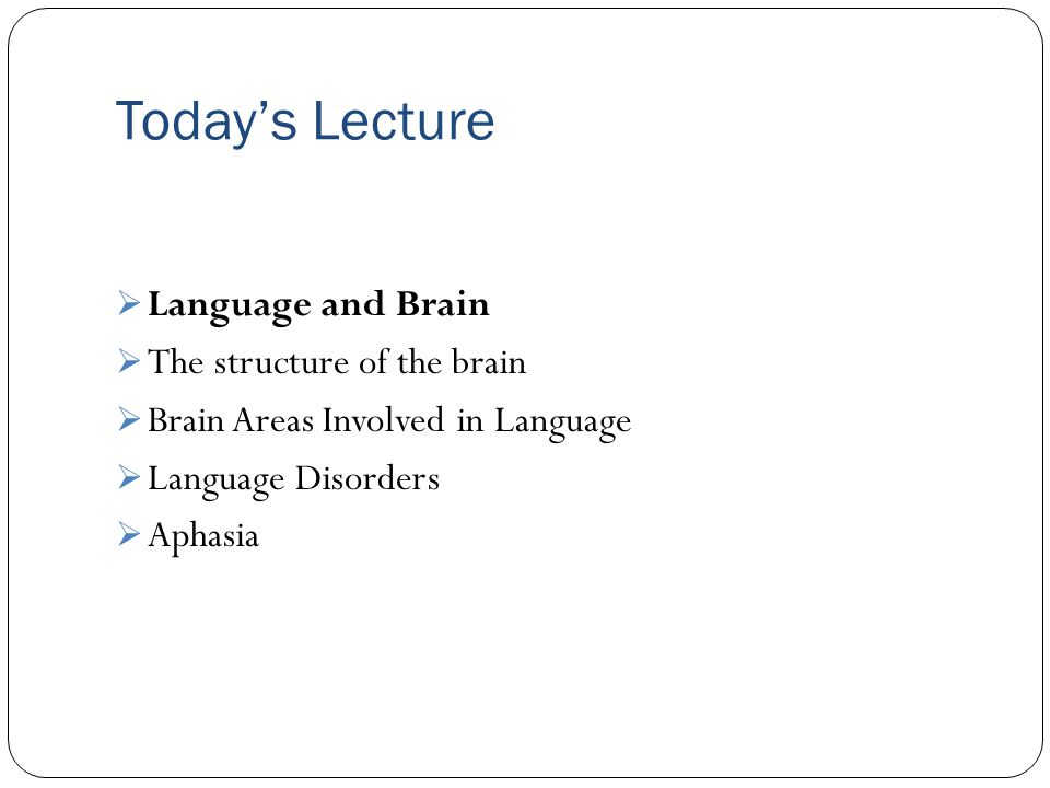 Today's Lecture Language and Brain The structure of the brain