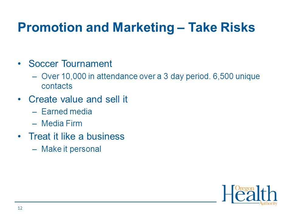 Promotion and Marketing – Take Risks
