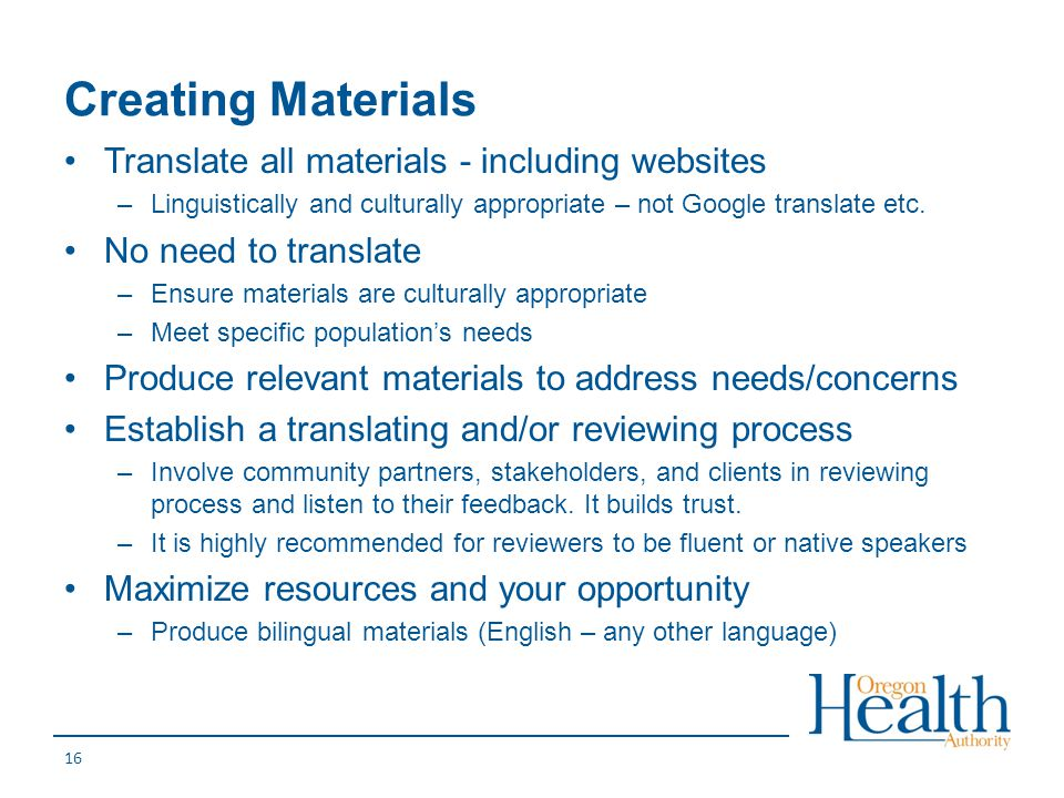 Creating Materials Translate all materials - including websites