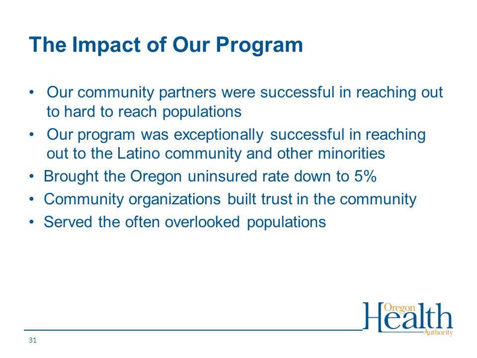 The Impact of Our Program