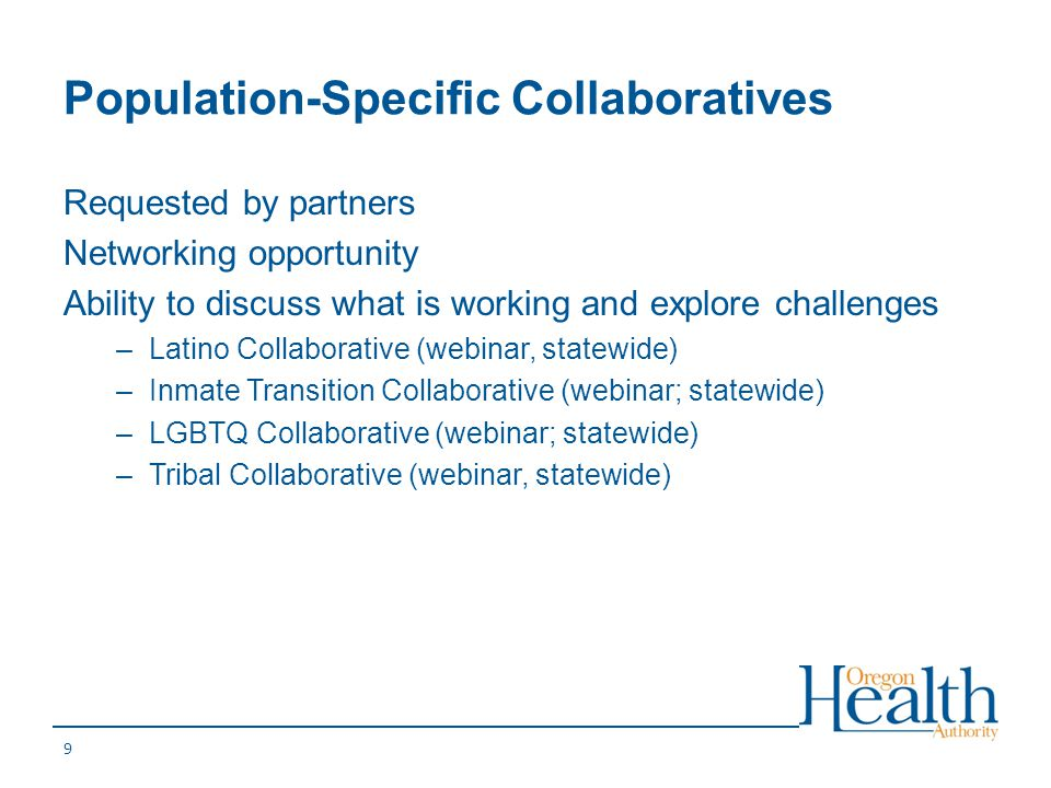 Population-Specific Collaboratives