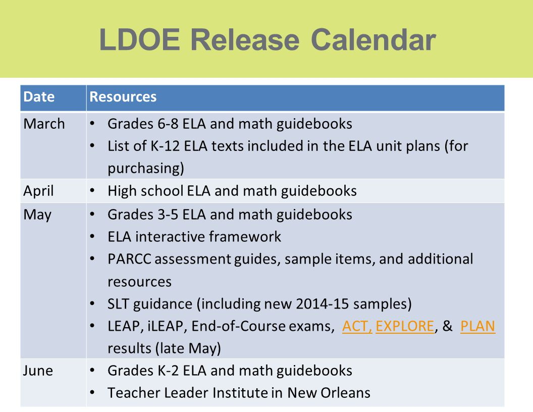 LDOE Release Calendar Date Resources March
