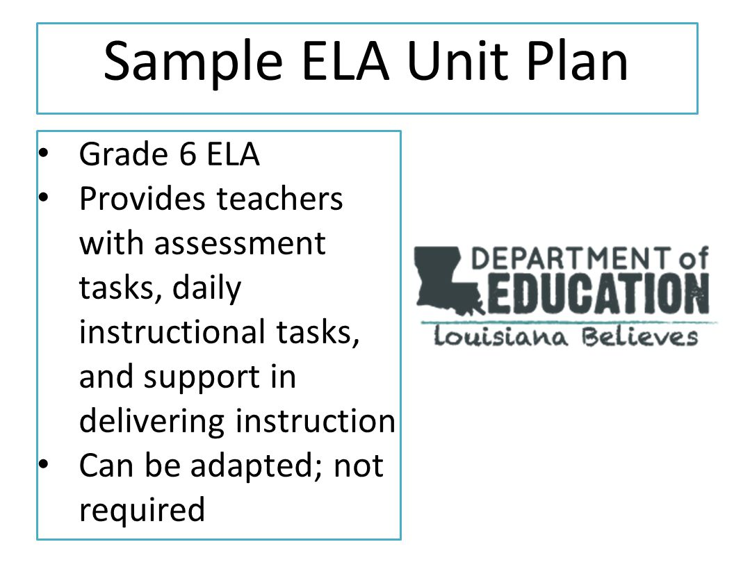 Sample ELA Unit Plan Grade 6 ELA