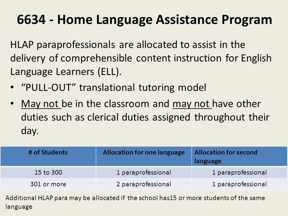6634 - Home Language Assistance Program
