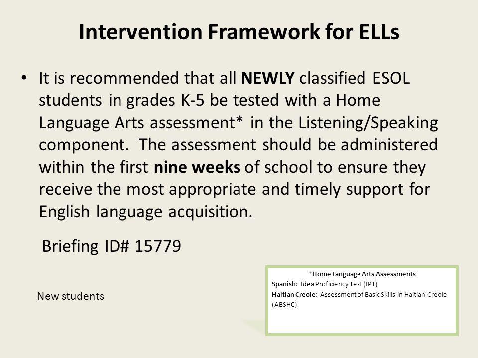 Intervention Framework for ELLs