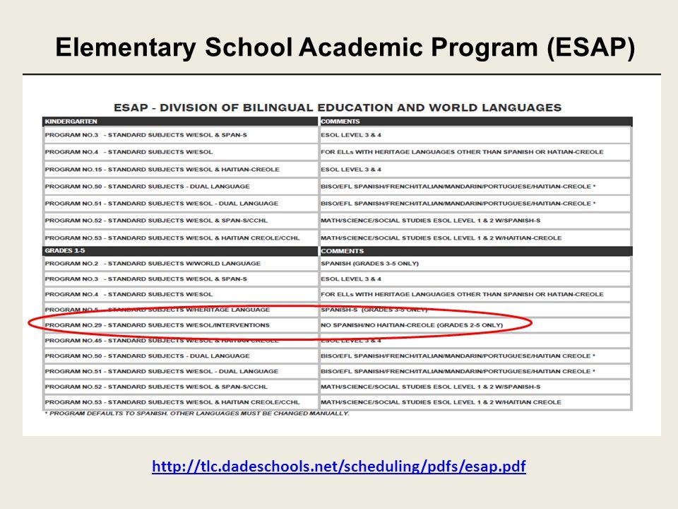 Elementary School Academic Program (ESAP)