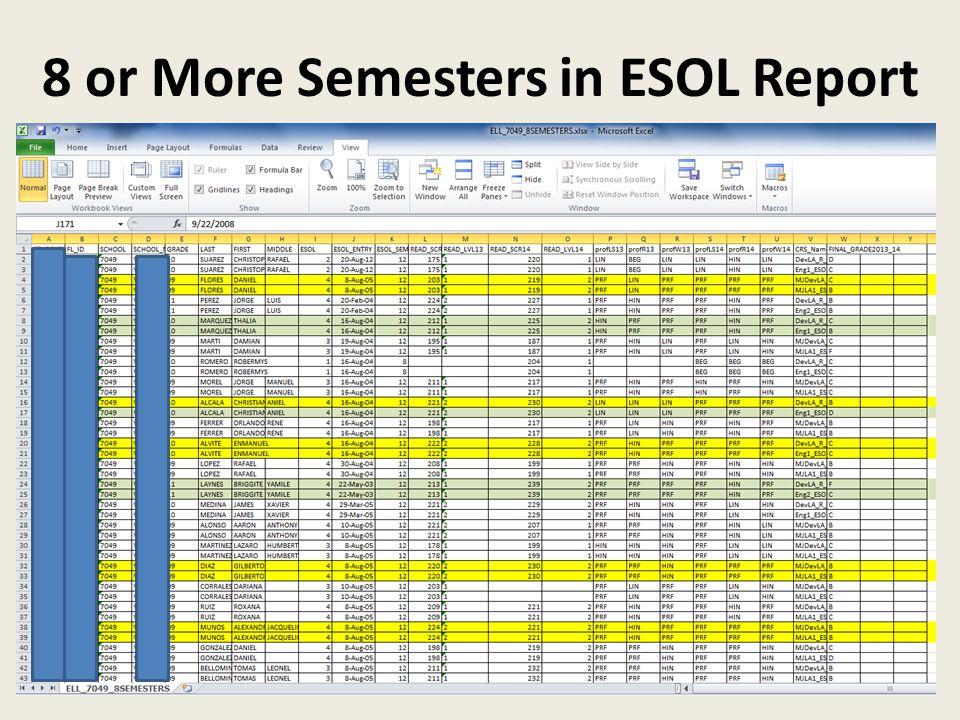 8 or More Semesters in ESOL Report