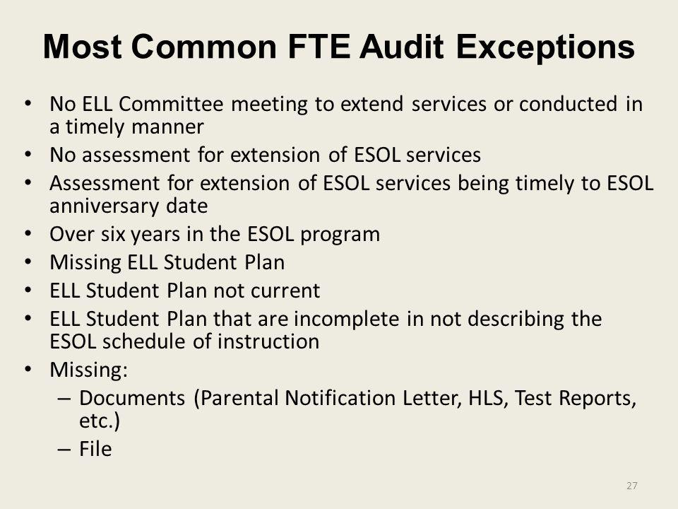 Most Common FTE Audit Exceptions