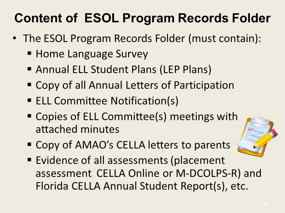 Content of ESOL Program Records Folder