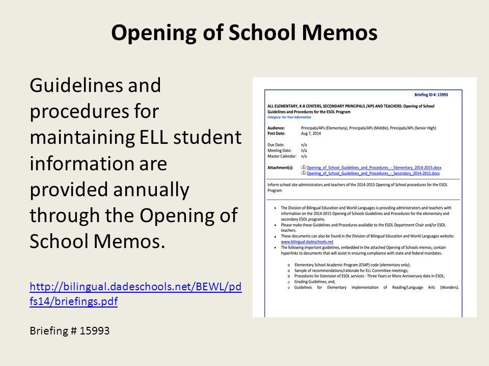 Opening of School Memos