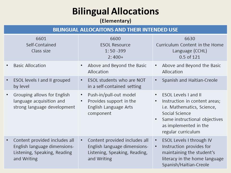 Bilingual Allocations (Elementary)