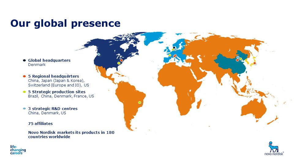 Our global presence 1: About Novo Nordisk Global headquarters Denmark