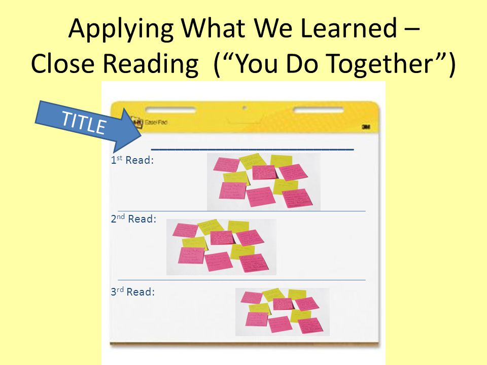 Applying What We Learned – Close Reading ( You Do Together )