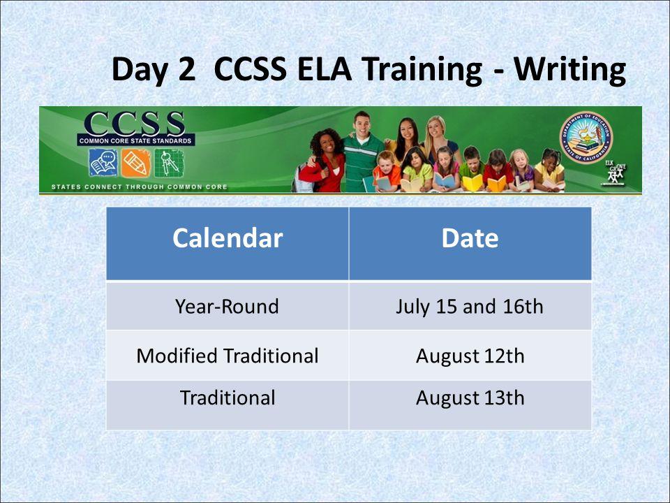 Day 2 CCSS ELA Training - Writing