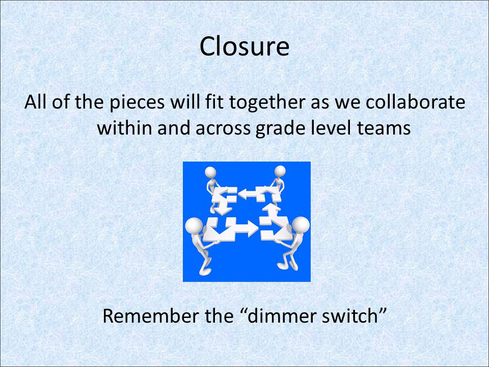 Closure All of the pieces will fit together as we collaborate within and across grade level teams Remember the dimmer switch