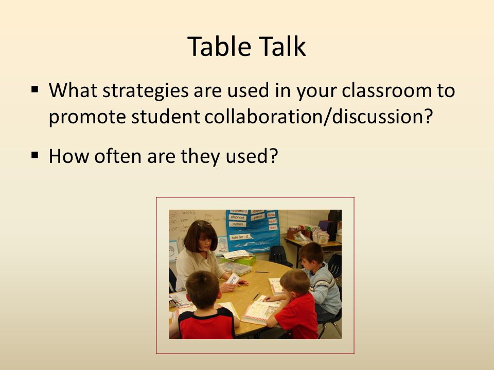 Table Talk What strategies are used in your classroom to promote student collaboration/discussion How often are they used