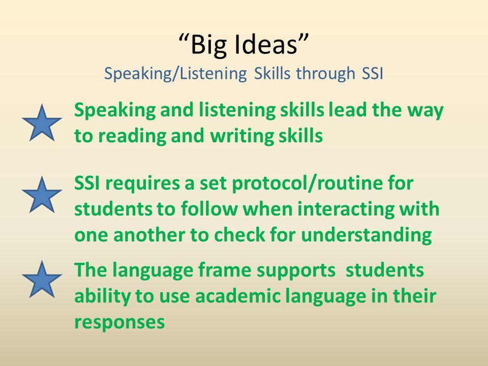 Big Ideas Speaking/Listening Skills through SSI
