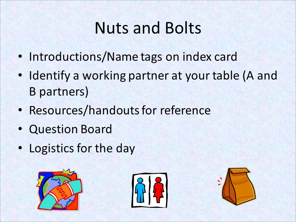 Nuts and Bolts Introductions/Name tags on index card