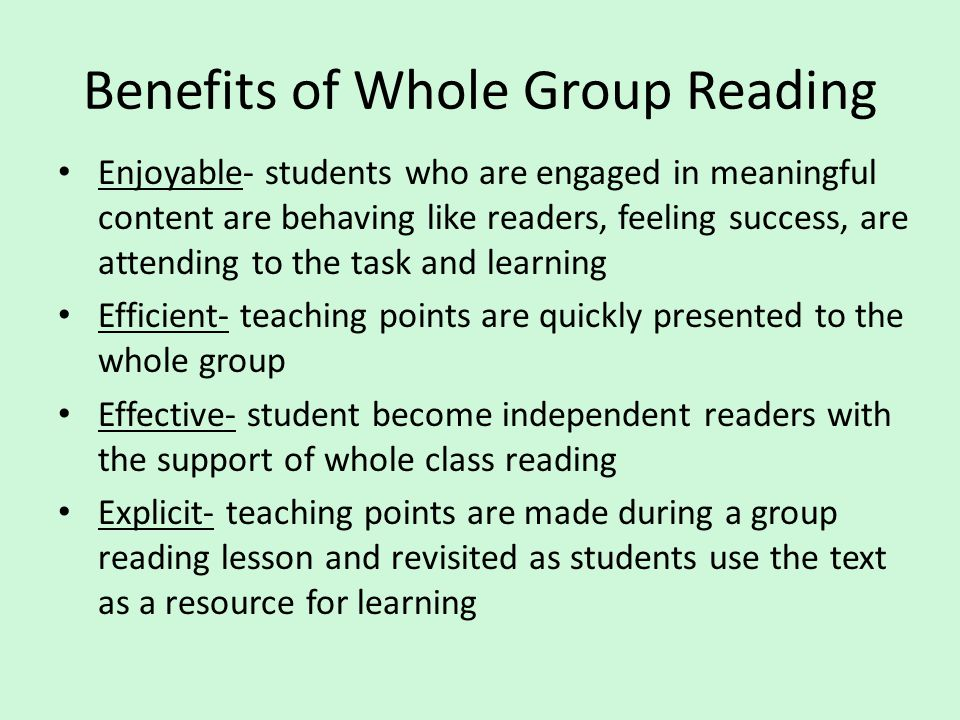 Benefits of Whole Group Reading