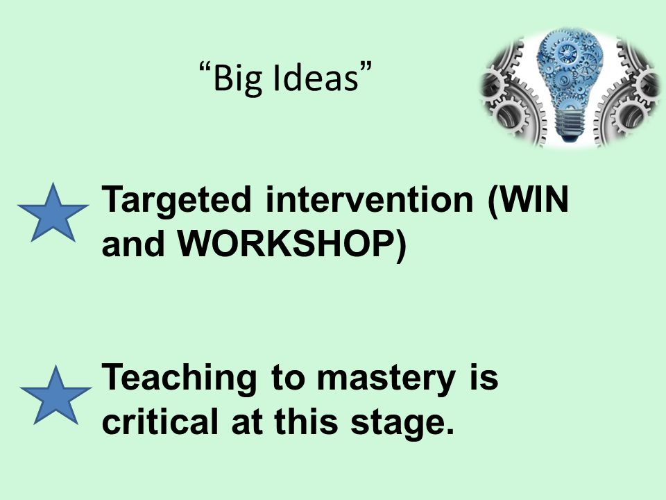 Big Ideas Targeted intervention (WIN and WORKSHOP)