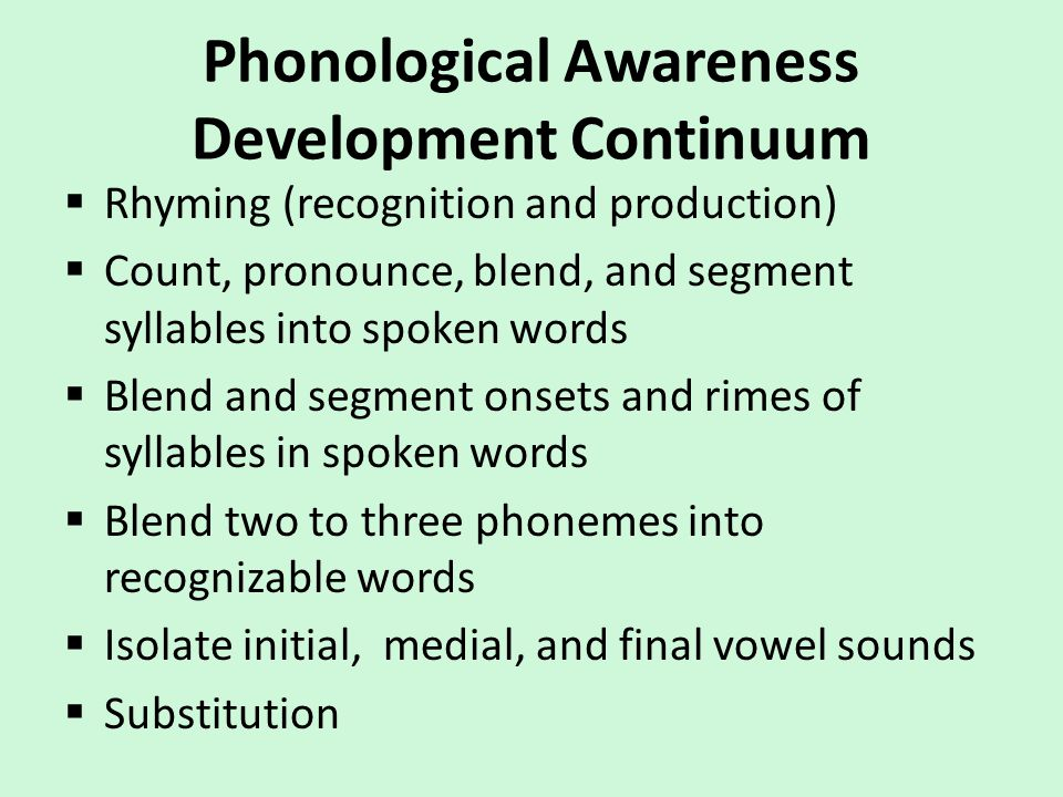 Phonological Awareness Development Continuum