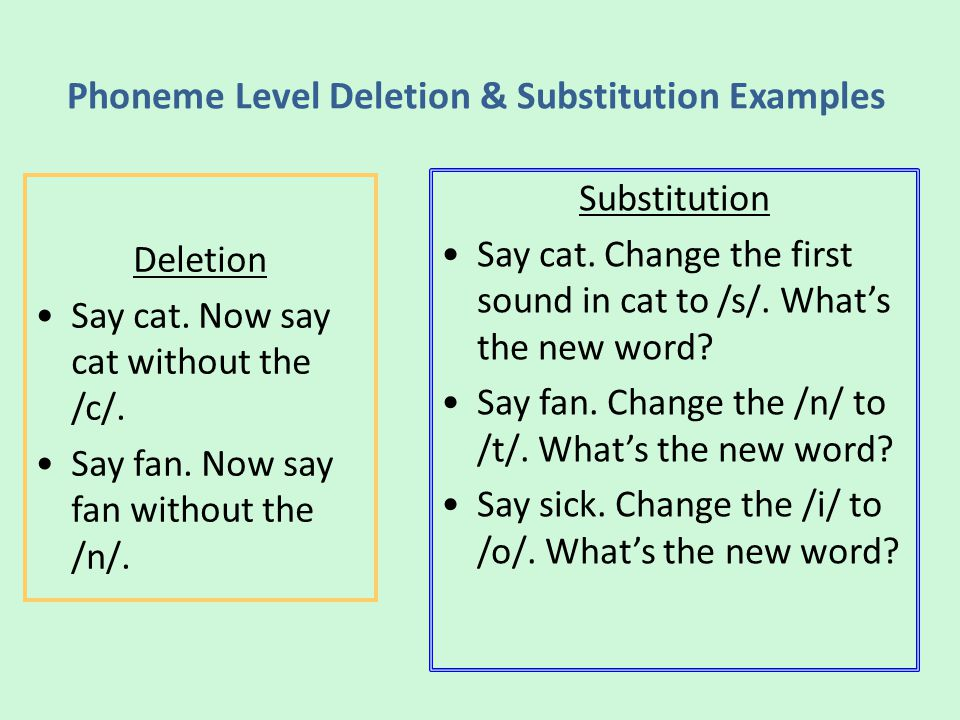 Phoneme Level Deletion & Substitution Examples