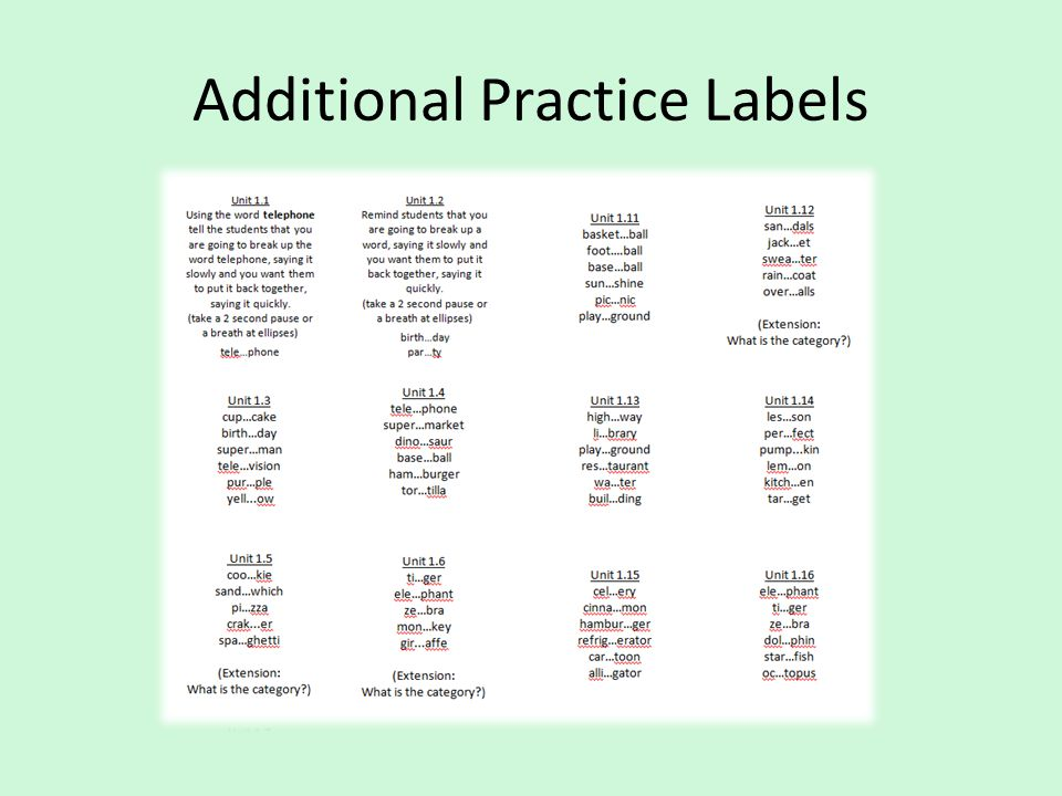 Additional Practice Labels