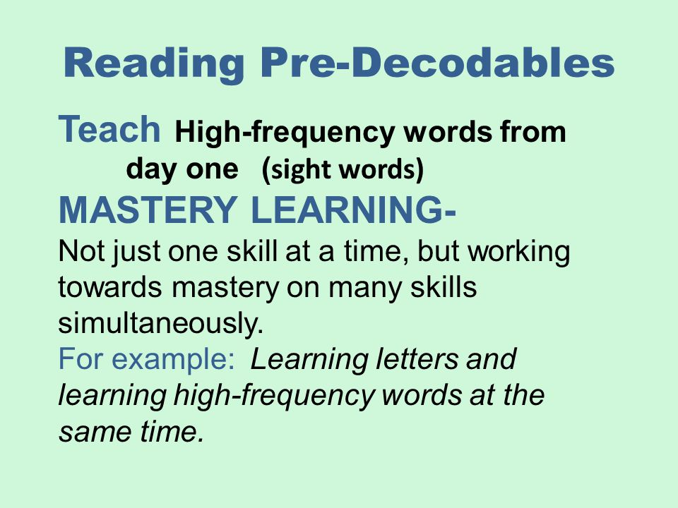 Reading Pre-Decodables