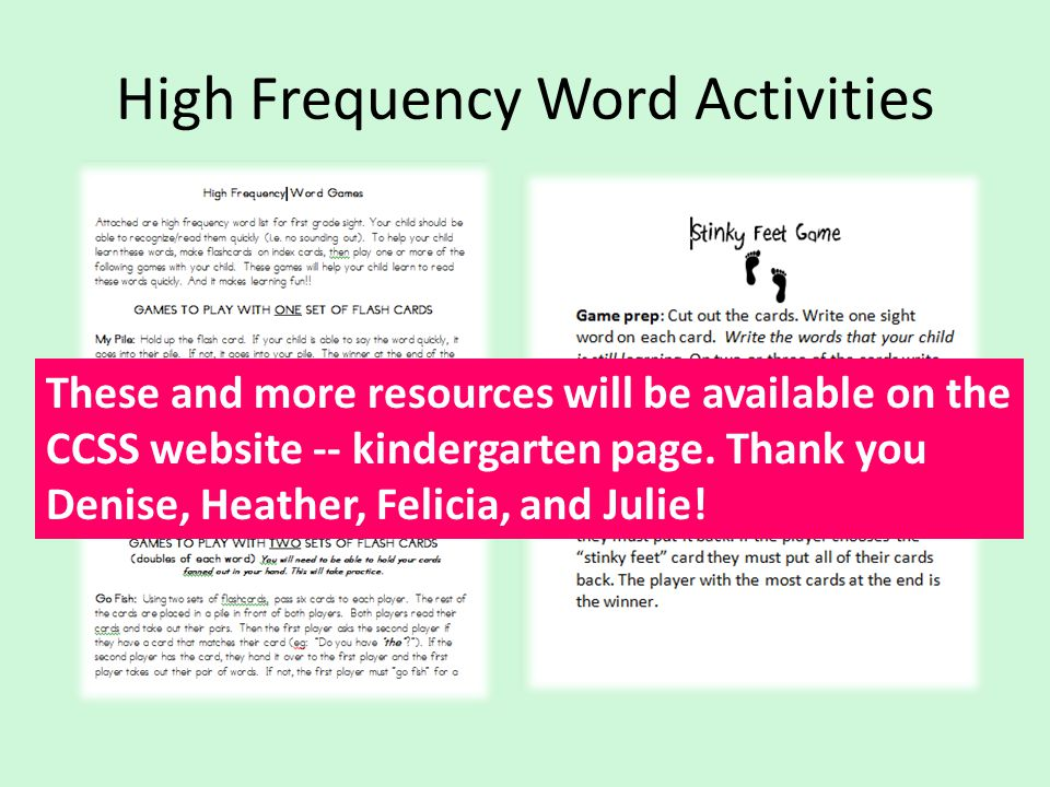High Frequency Word Activities