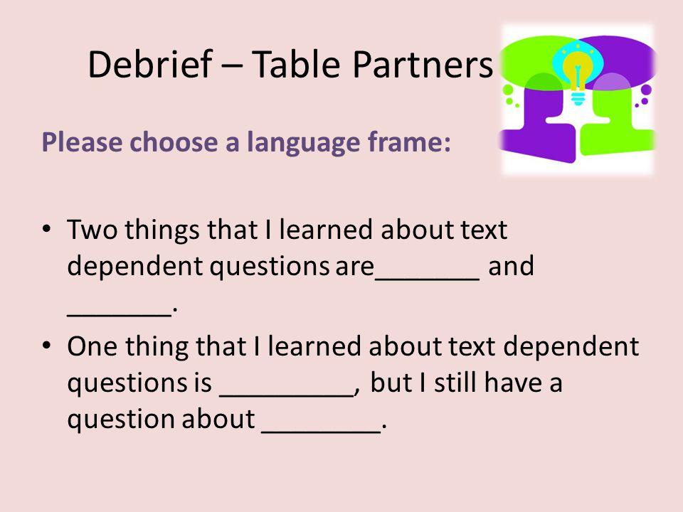 Debrief – Table Partners