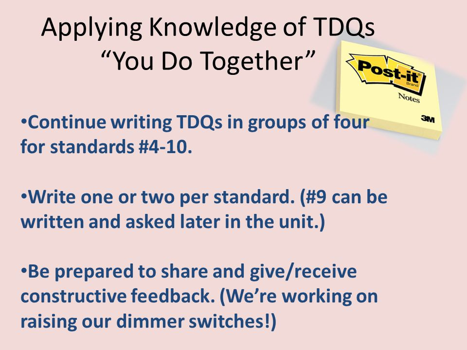 Applying Knowledge of TDQs You Do Together