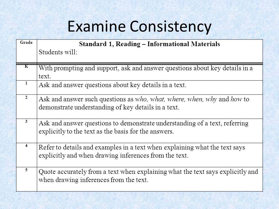 Standard 1, Reading – Informational Materials