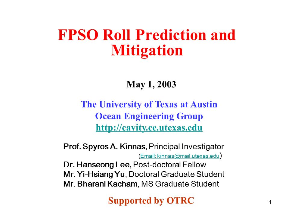FPSO Roll Prediction and Mitigation