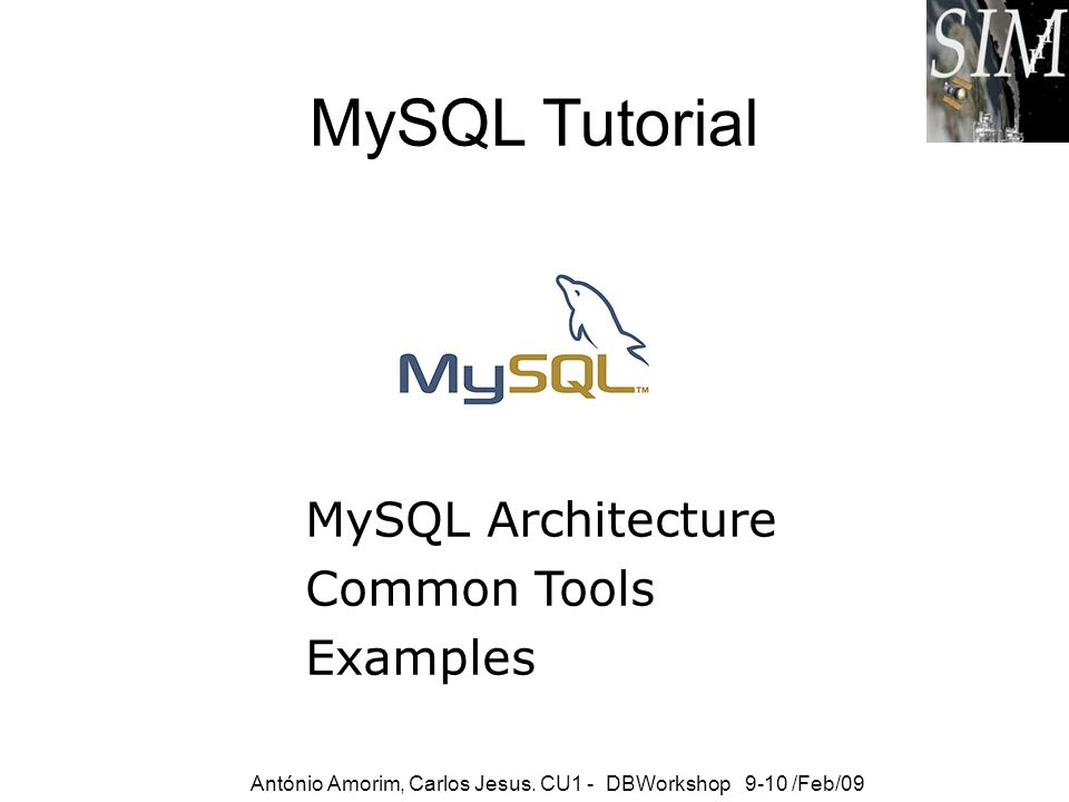 MySQL Tutorial MySQL Architecture Common Tools Examples