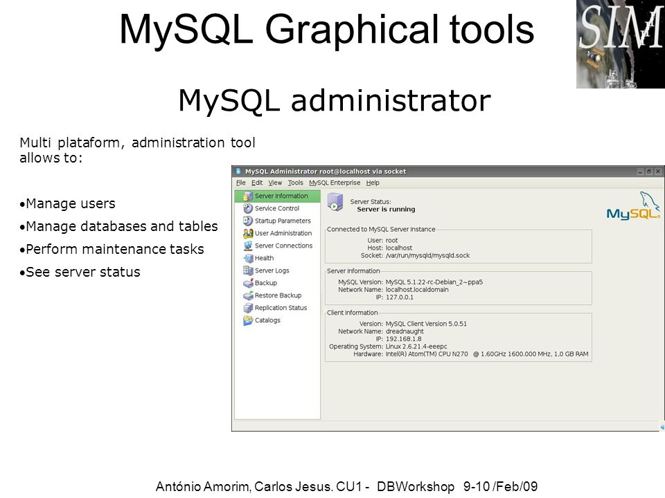 MySQL Graphical tools MySQL administrator